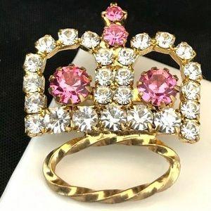 Crown Brooch Pin Crystals Vintage Pink 1I